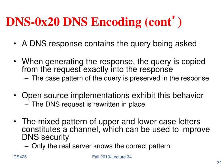 DNS-0x20 DNS Encoding (cont