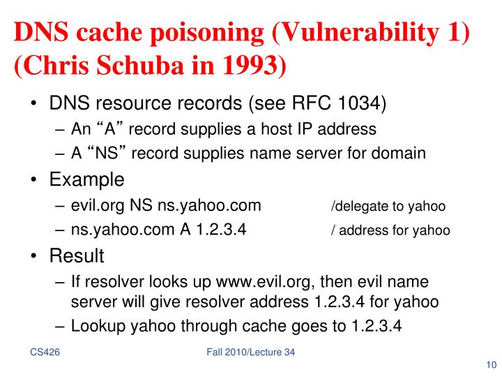 DNS cache poisoning (Vulnerability 1)