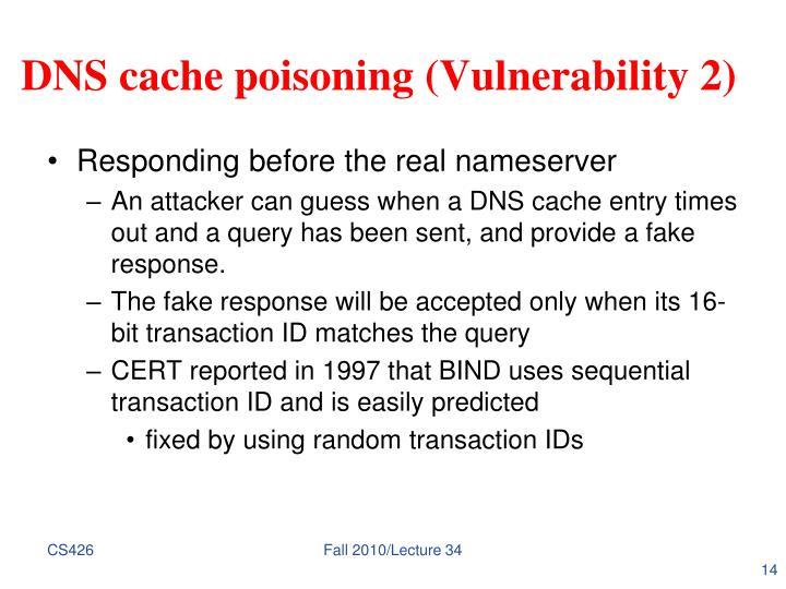 DNS cache poisoning (Vulnerability 2)