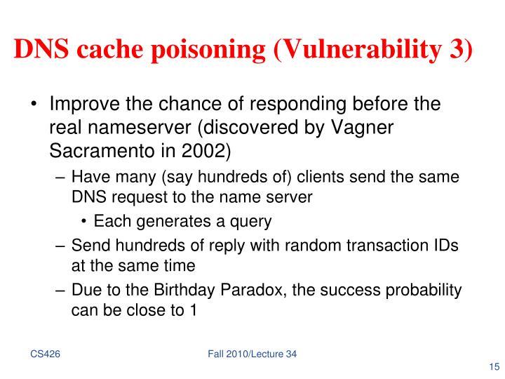 DNS cache poisoning (Vulnerability 3)