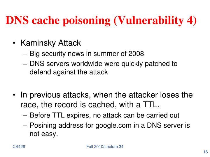 DNS cache poisoning (Vulnerability 4)