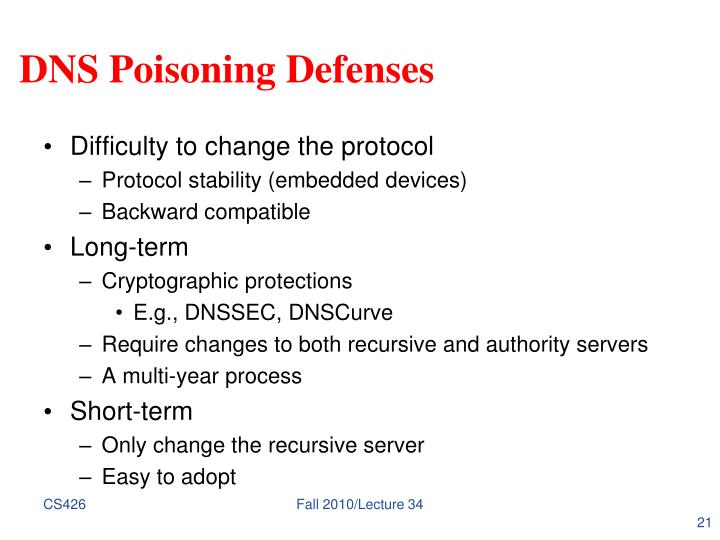 DNS Poisoning Defenses