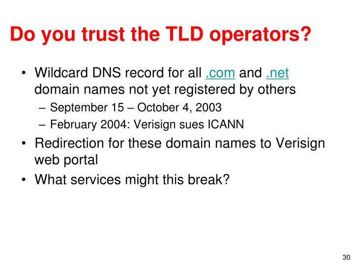 Do you trust the TLD operators?