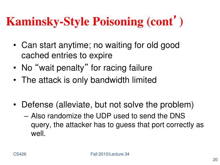 Kaminsky-Style Poisoning (cont