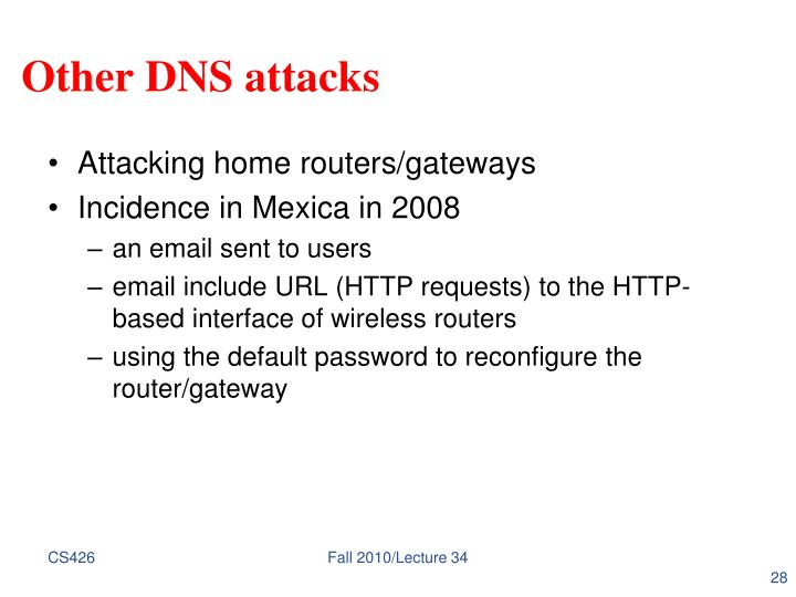 Other DNS attacks