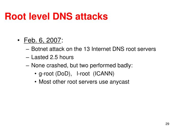 Root level DNS attacks