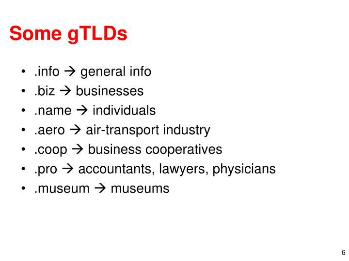 Some gTLDs