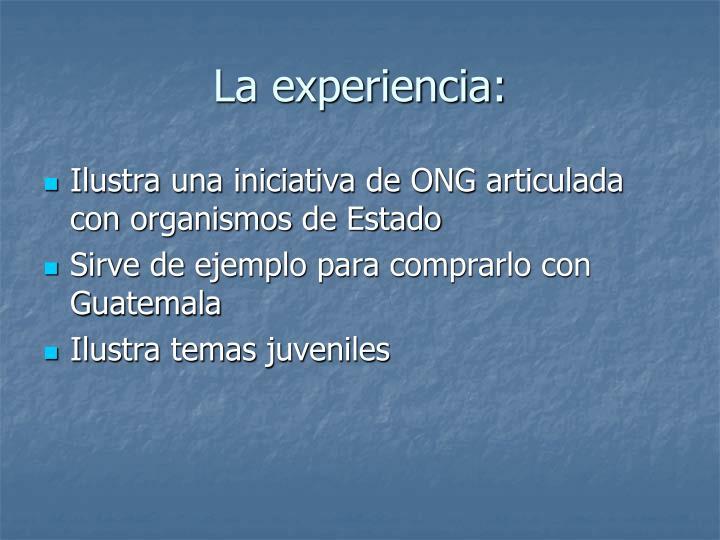 La experiencia: