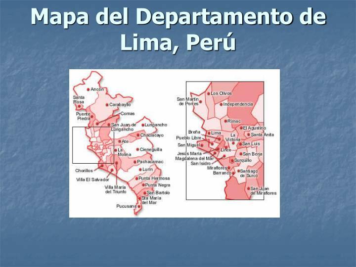 Mapa del Departamento de Lima, Perú