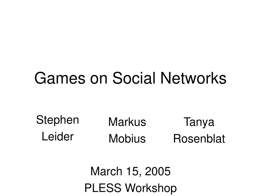 Games on Social Networks