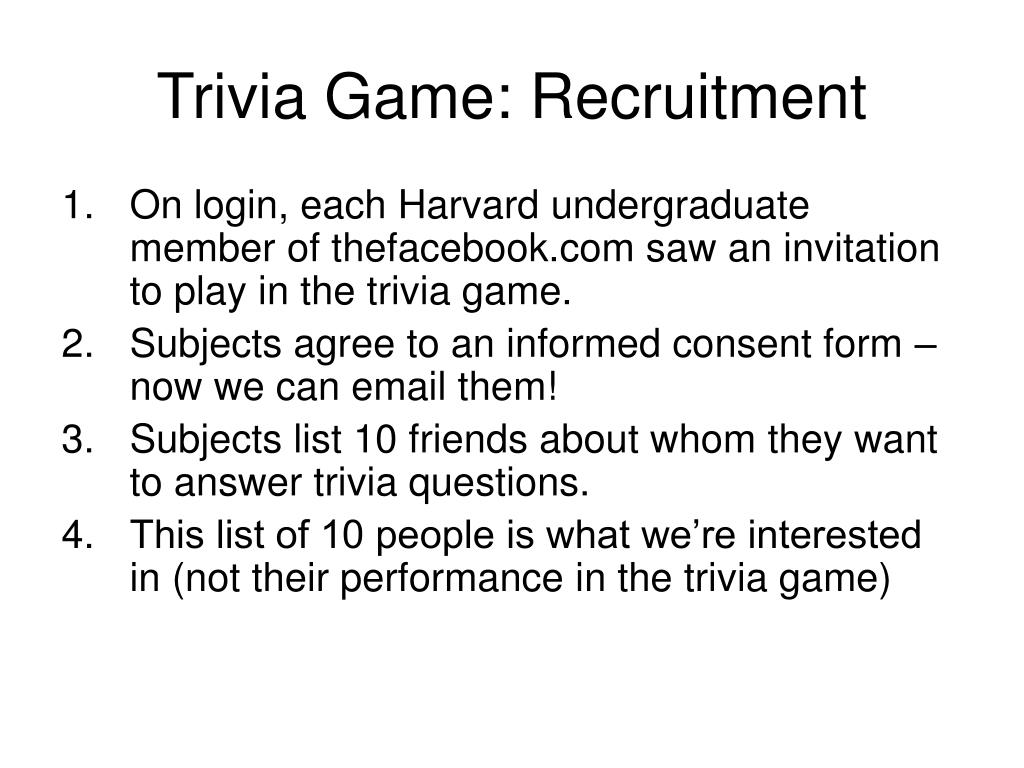 Trivia Game: Recruitment