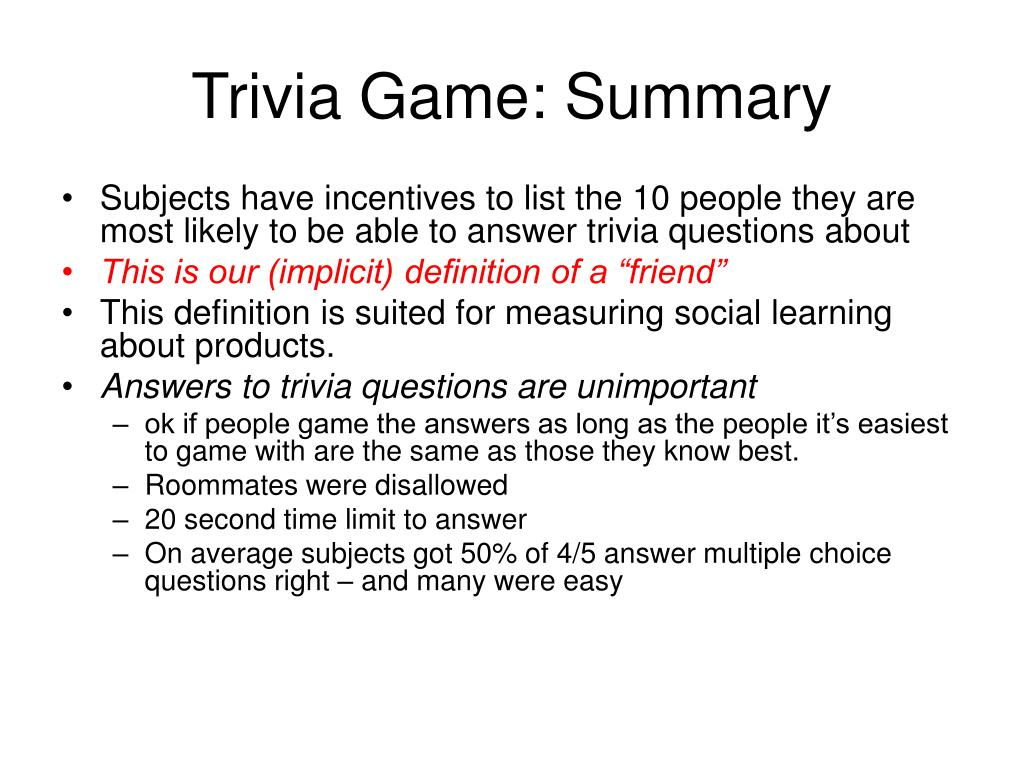 Trivia Game: Summary