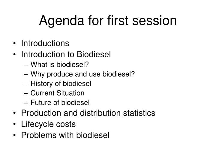 Agenda for first session