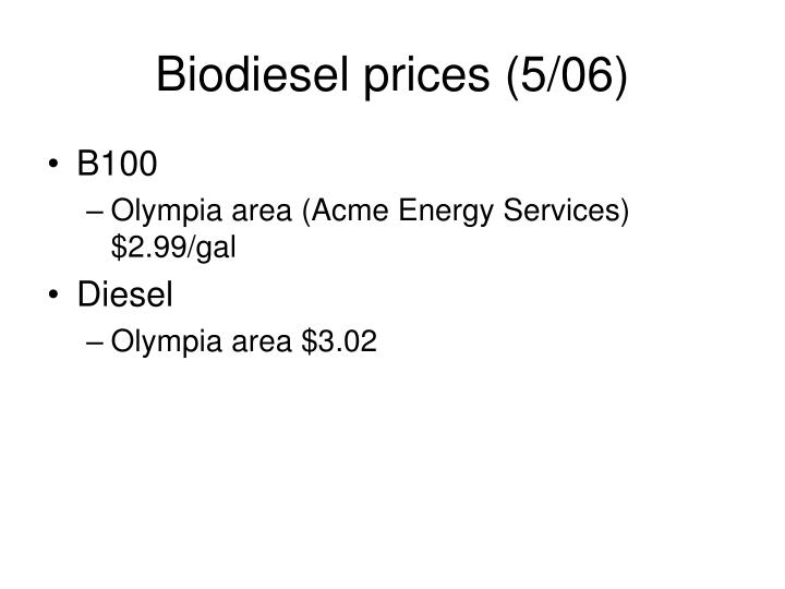 Biodiesel prices (5/06)