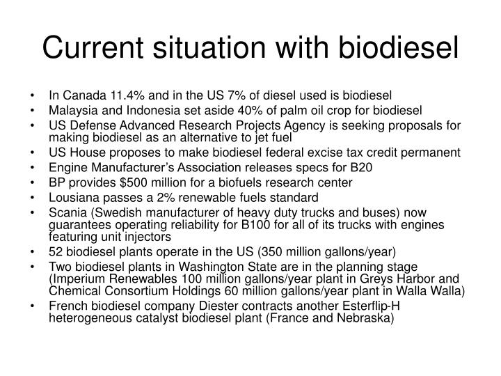 Current situation with biodiesel