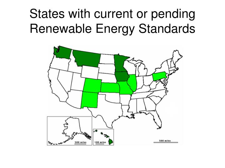 States with current or pending Renewable Energy Standards