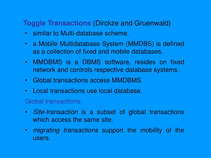 Toggle Transactions