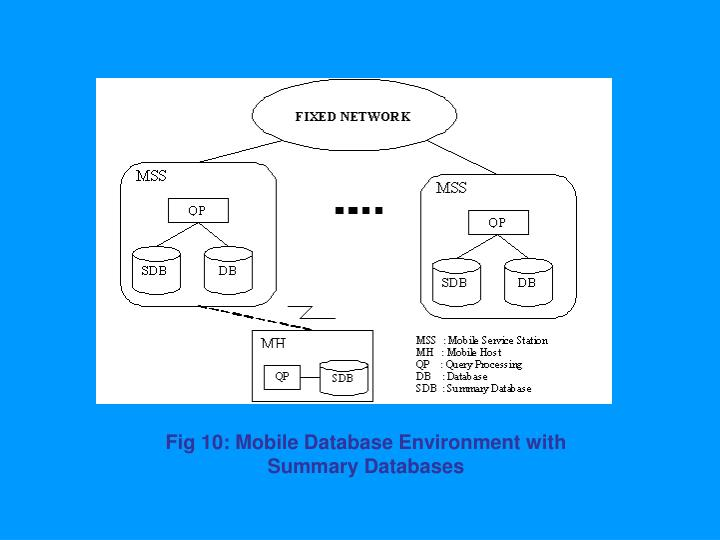 Fig 10: Mobile Database Environment with Summary Databases