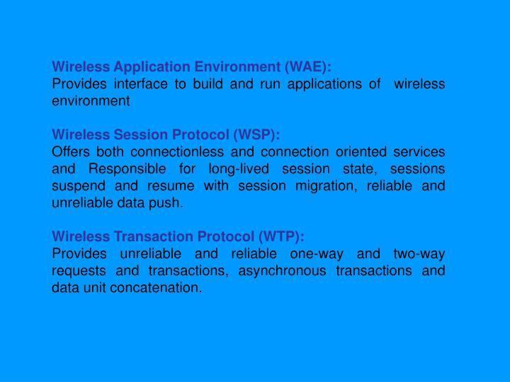 Wireless Application Environment (WAE):