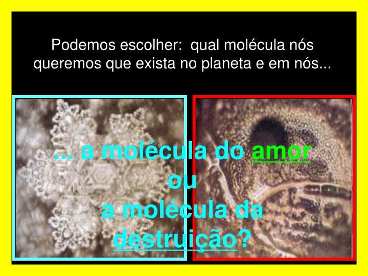 Podemos escolher:  qual molécula nós queremos que exista no planeta e em nós...