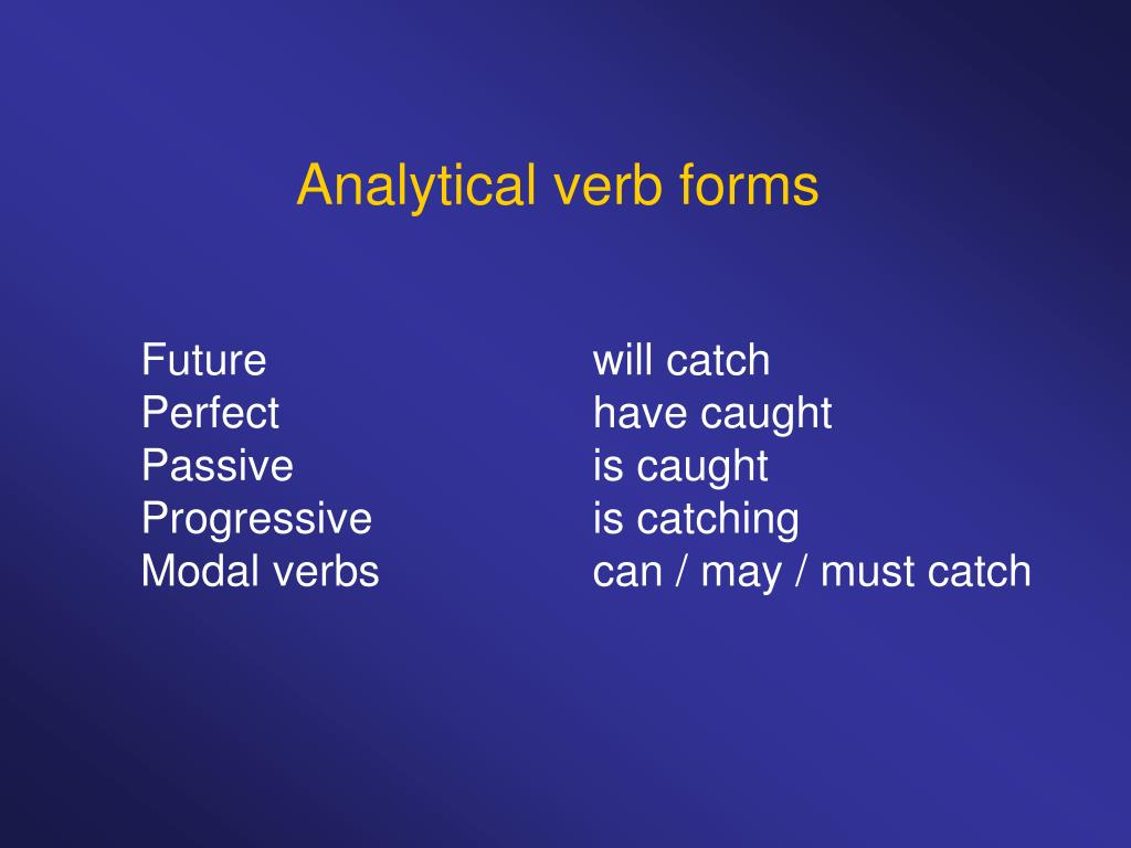 Analytical verb forms