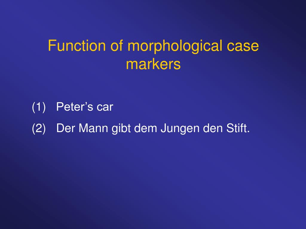 Function of morphological case markers
