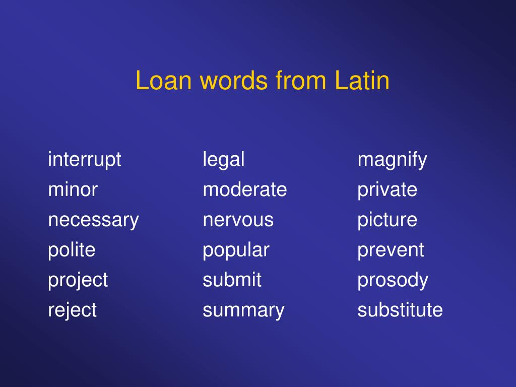 Loan words from Latin