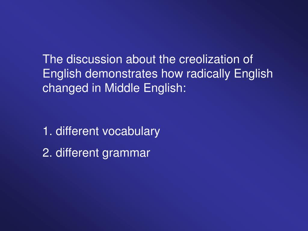 The discussion about the creolization of English demonstrates how radically English changed in Middle English: