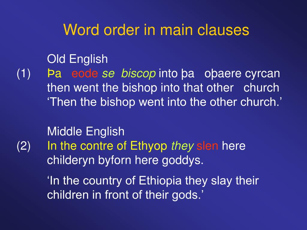 Word order in main clauses