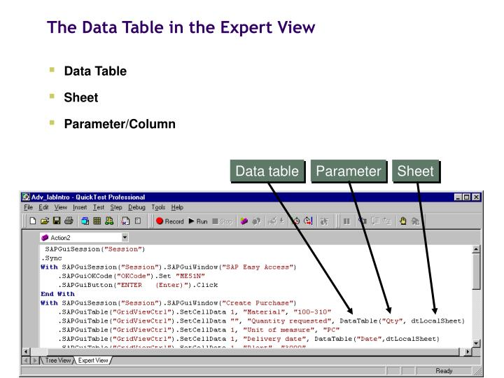 The Data Table in the Expert View