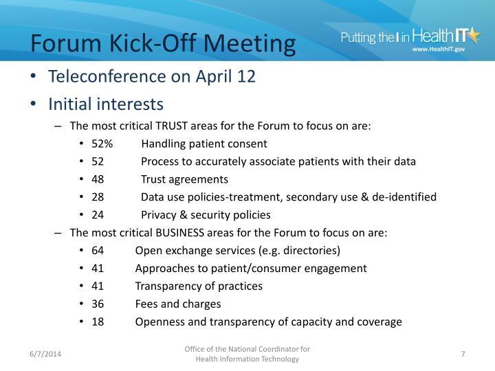 Forum Kick-Off Meeting