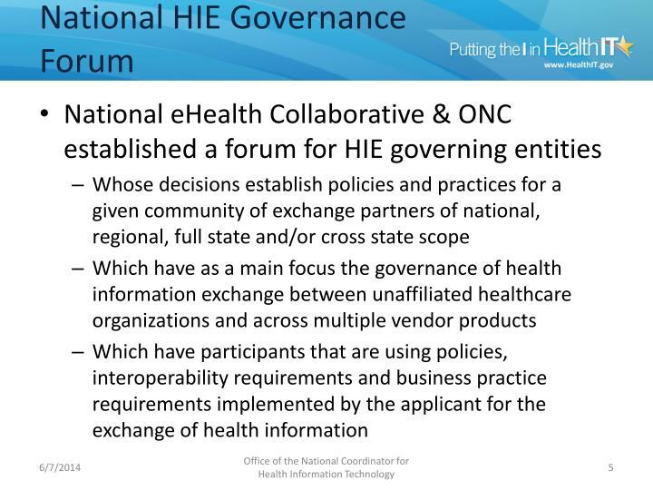 National HIE Governance