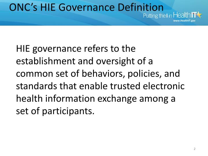 ONC's HIE Governance Definition