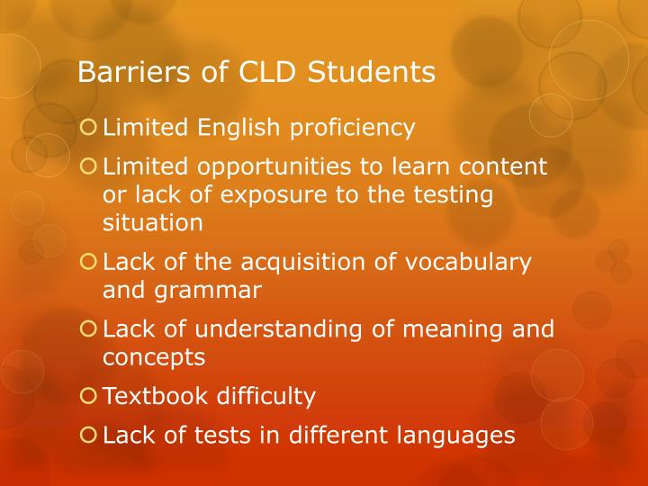 Barriers of CLD Students