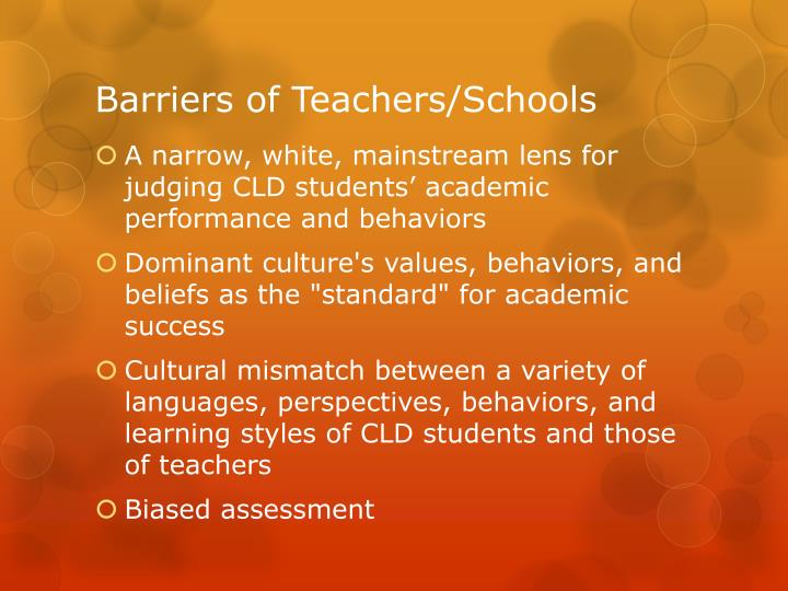 Barriers of Teachers/Schools