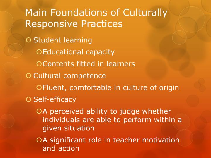 Main Foundations of Culturally Responsive Practices