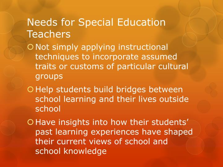 Needs for Special Education Teachers
