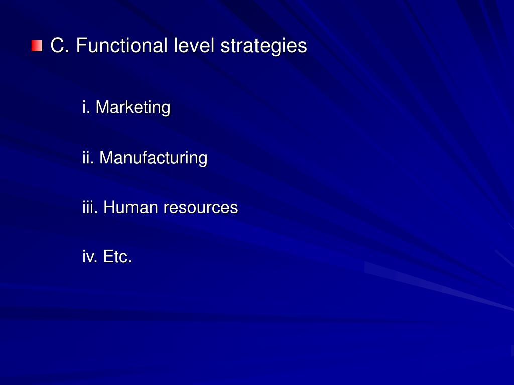 C. Functional level strategies