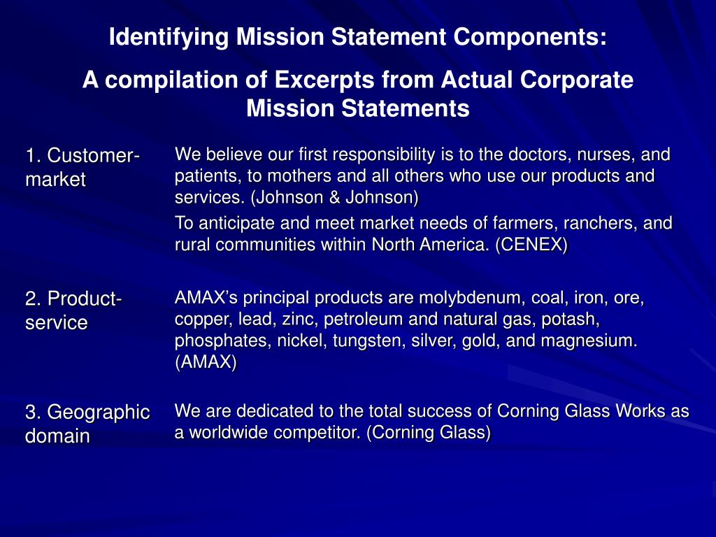 Identifying Mission Statement Components: