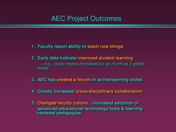 AEC Project Outcomes