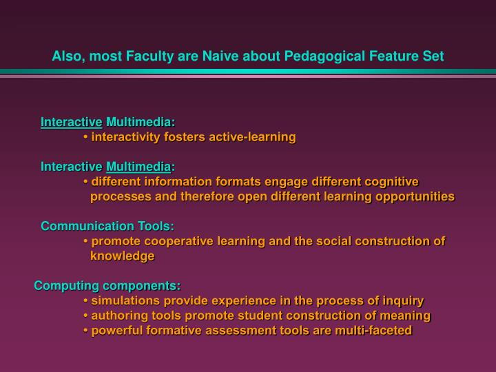 Also, most Faculty are Naive about Pedagogical Feature Set