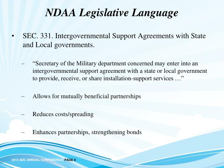 NDAA Legislative Language