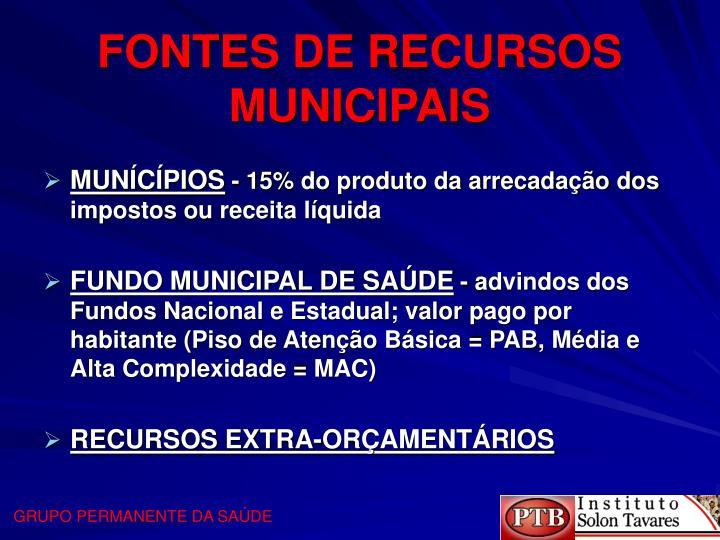 FONTES DE RECURSOS MUNICIPAIS
