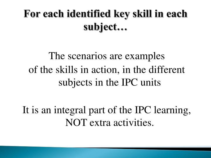 For each identified key skill in each subject…