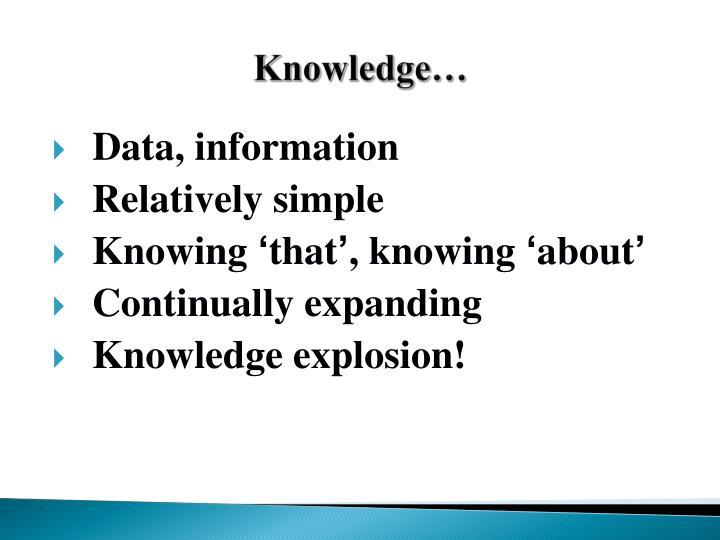 Knowledge…