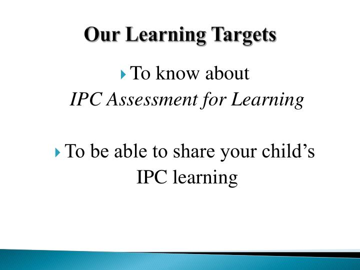 Our Learning Targets