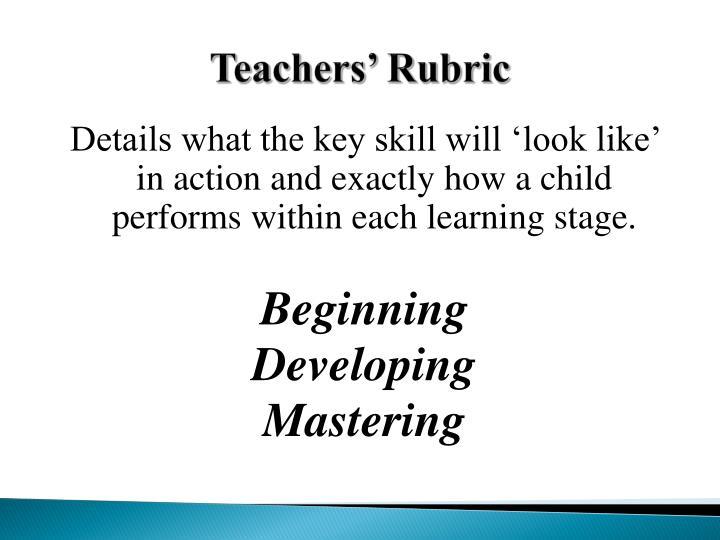 Teachers' Rubric