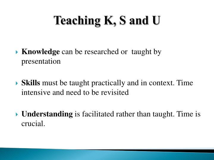 Teaching K, S and U