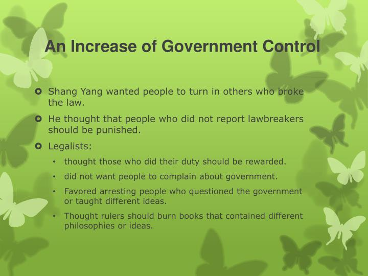 An Increase of Government Control