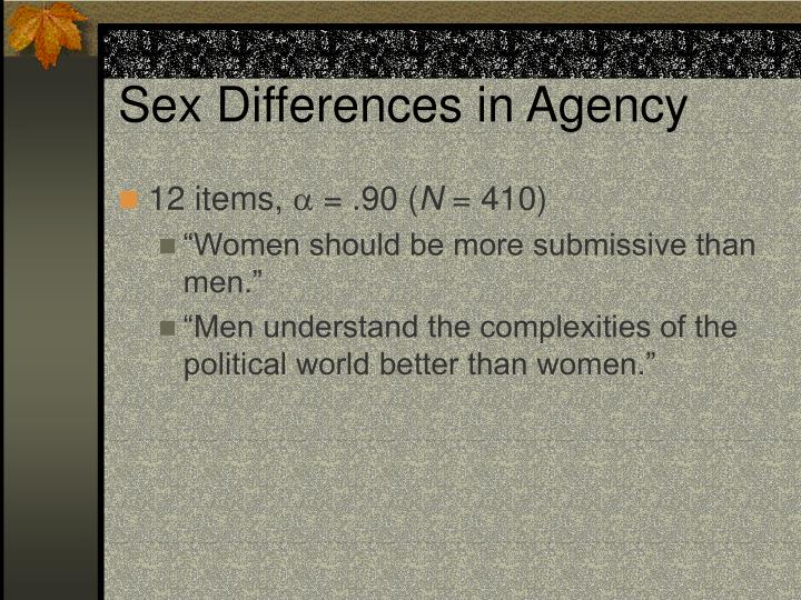 Sex Differences in Agency